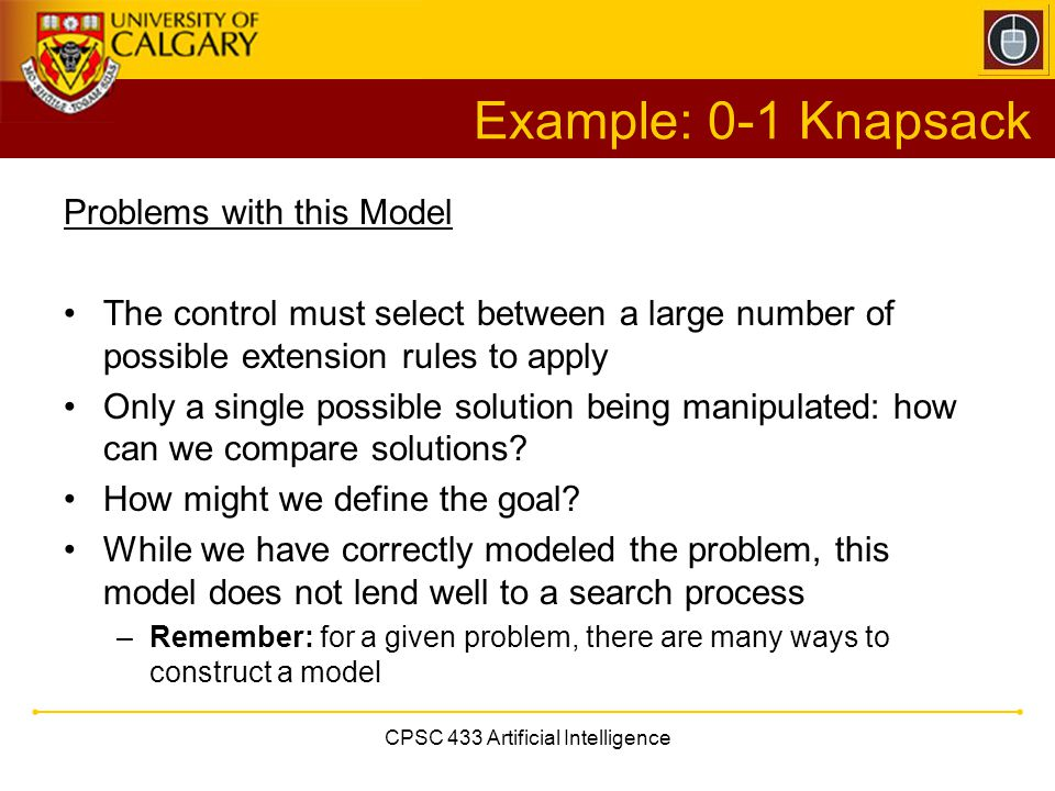 CPSC 433 Artificial Intelligence