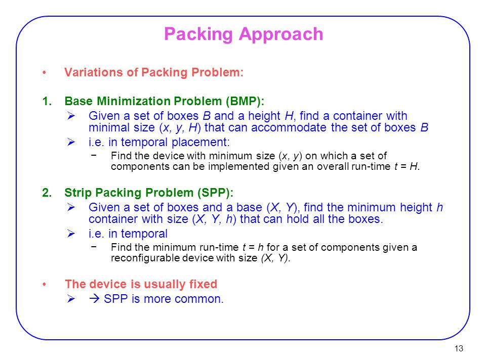 Packing Approach Variations of Packing Problem: