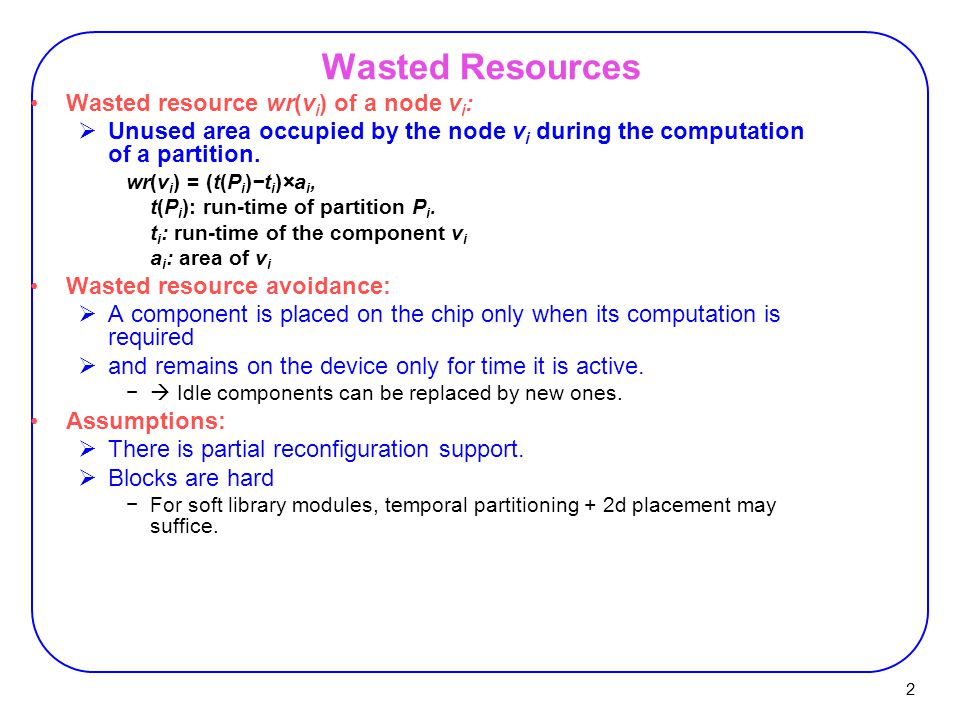 Wasted Resources Wasted resource wr(vi) of a node vi: