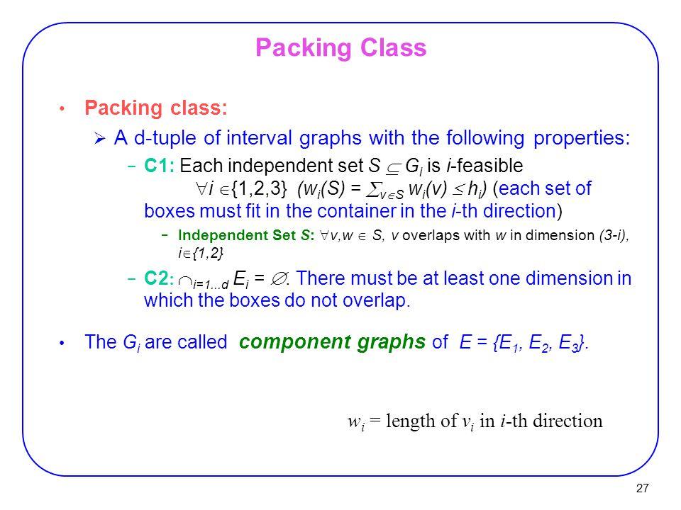 Packing Class Packing class: