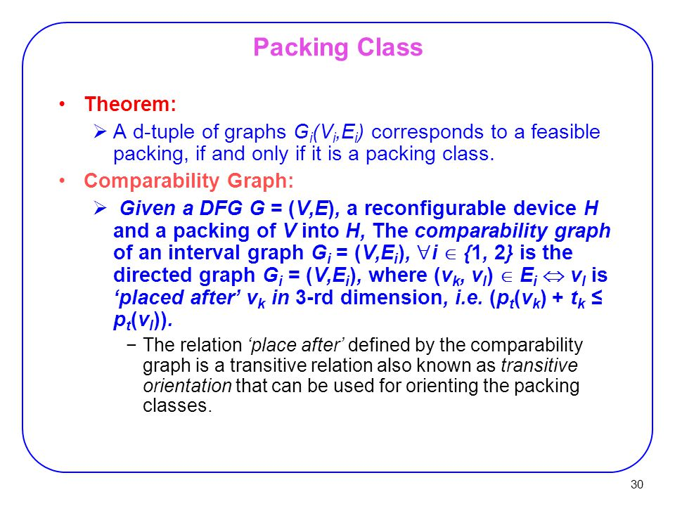 Packing Class Theorem: