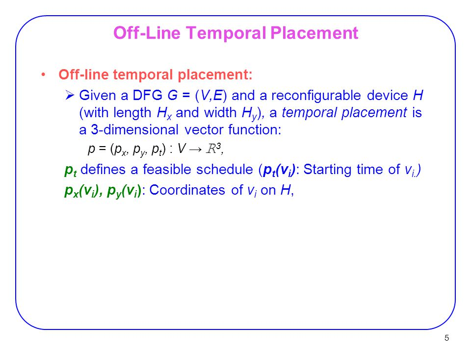 Off-Line Temporal Placement