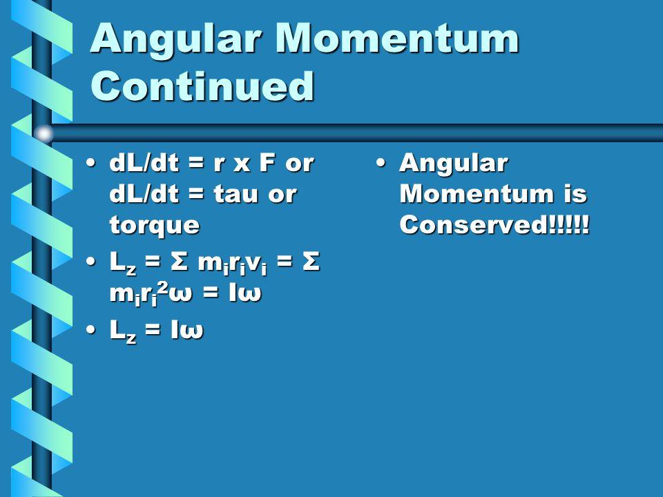 Angular Momentum Continued