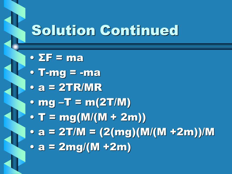 Solution Continued ΣF = ma T-mg = -ma a = 2TR/MR mg –T = m(2T/M)