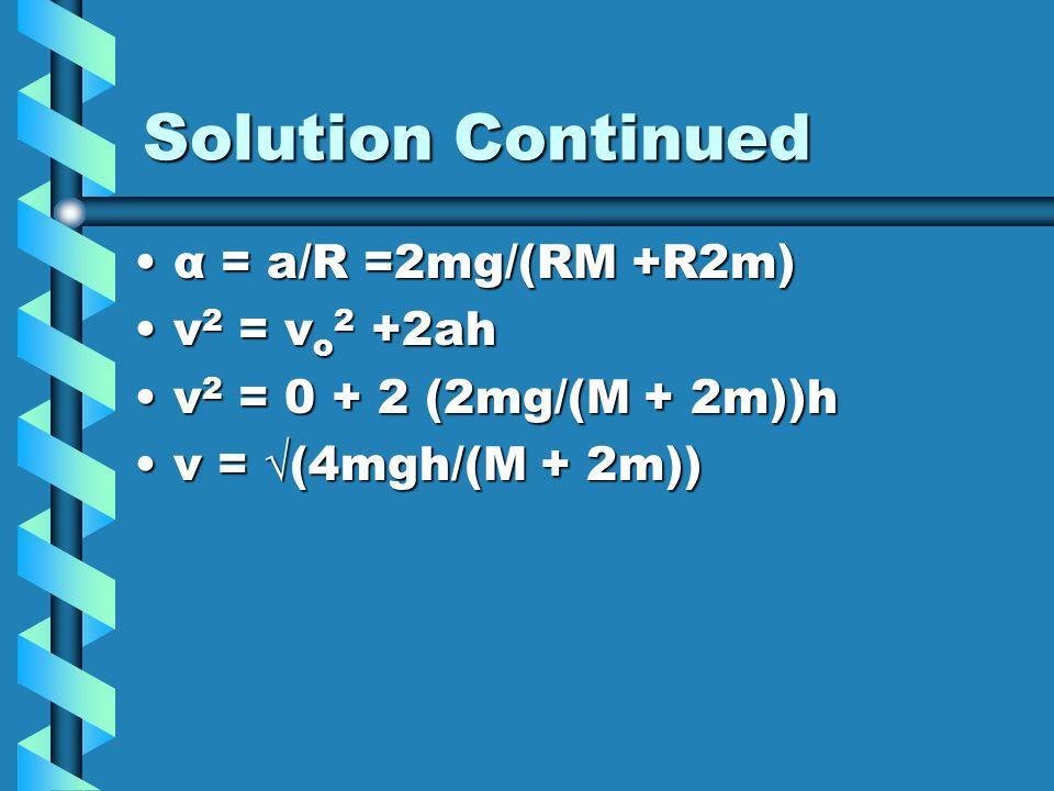 Solution Continued α = a/R =2mg/(RM +R2m) v2 = vo2 +2ah
