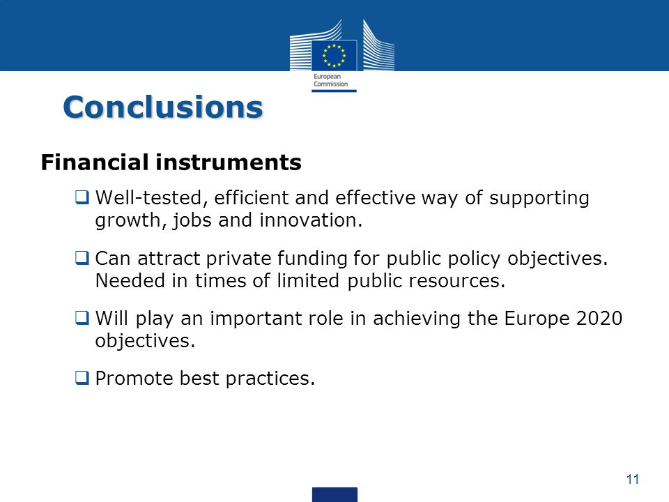 Conclusions Financial instruments