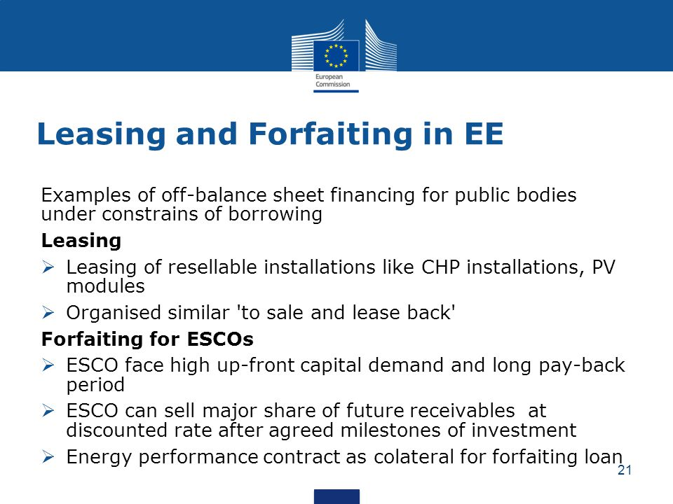 Leasing and Forfaiting in EE