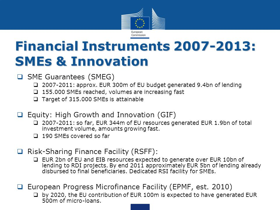 Financial Instruments 2007-2013: SMEs & Innovation