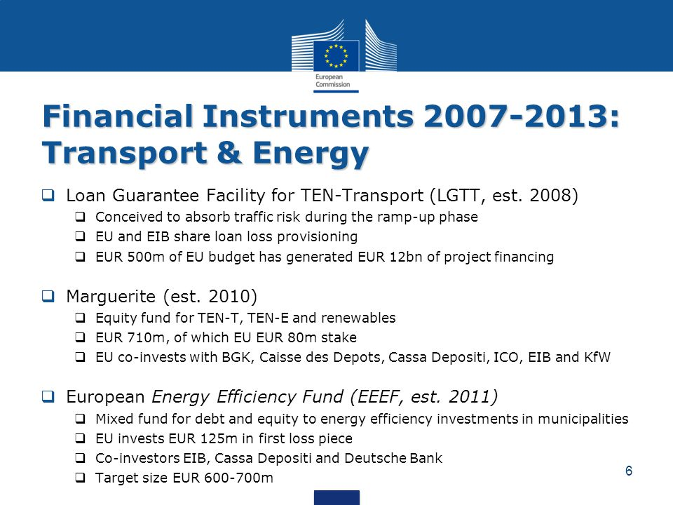 Financial Instruments 2007-2013: Transport & Energy