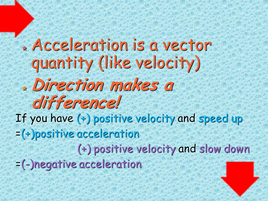 Acceleration is a vector quantity (like velocity)