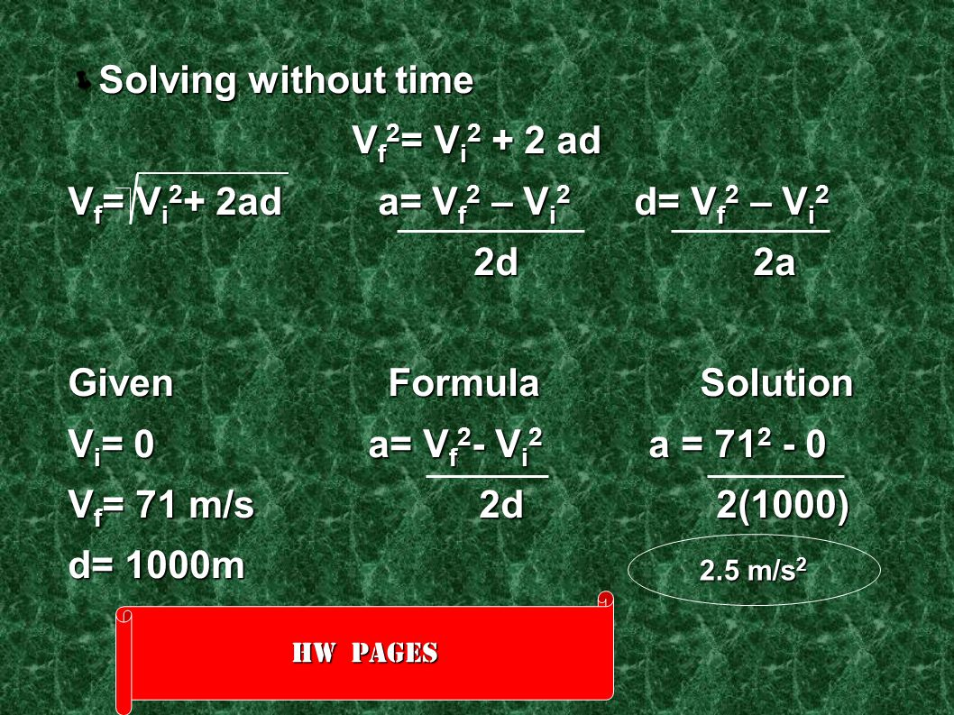Vf= Vi2+ 2ad a= Vf2 – Vi2 d= Vf2 – Vi2 2d 2a