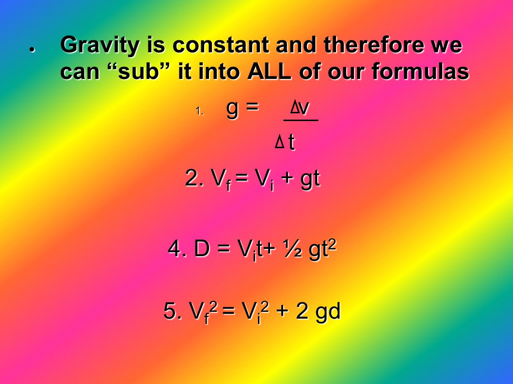 Gravity is constant and therefore we can sub it into ALL of our formulas