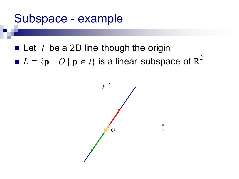 Subspace - example Let l be a 2D line though the origin