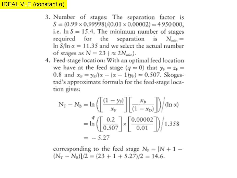 IDEAL VLE (constant α) IDEAL MIXTURE