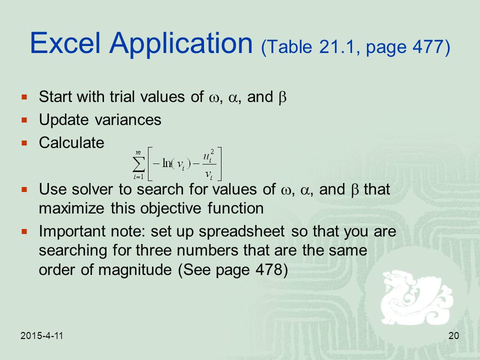 Excel Application (Table 21.1, page 477)