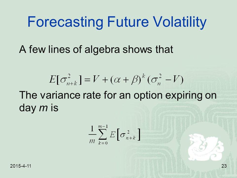 Forecasting Future Volatility