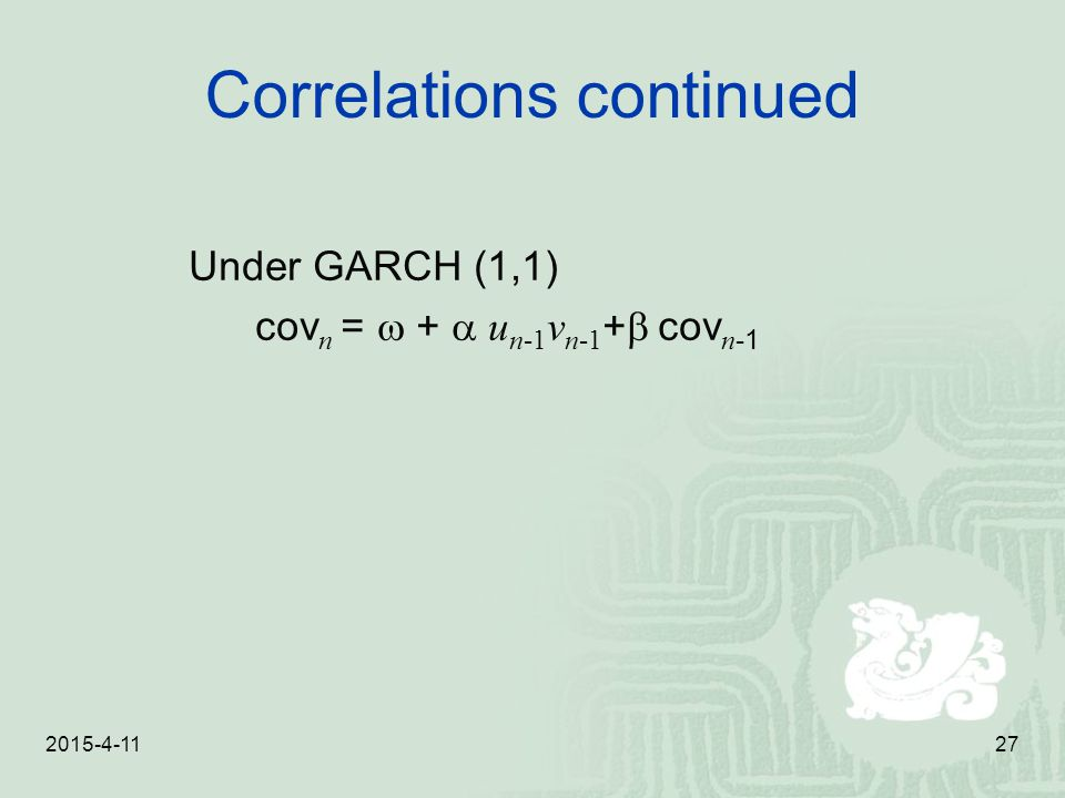 Correlations continued