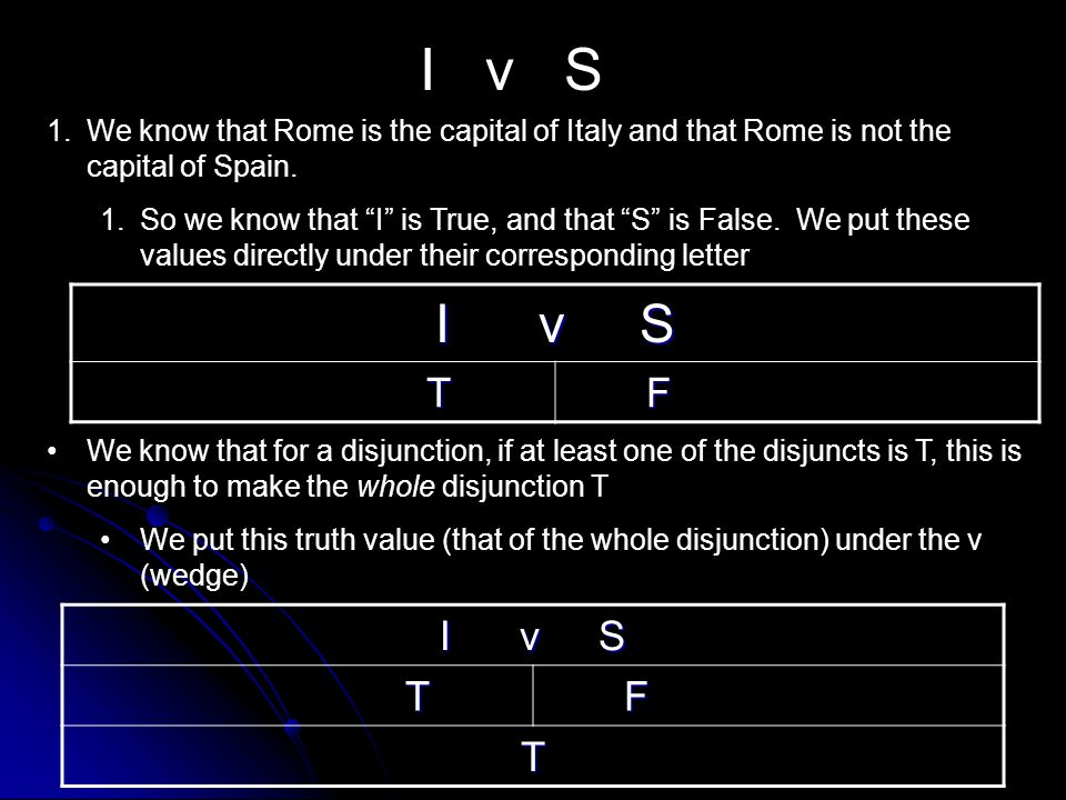 I v S We know that Rome is the capital of Italy and that Rome is not the capital of Spain.