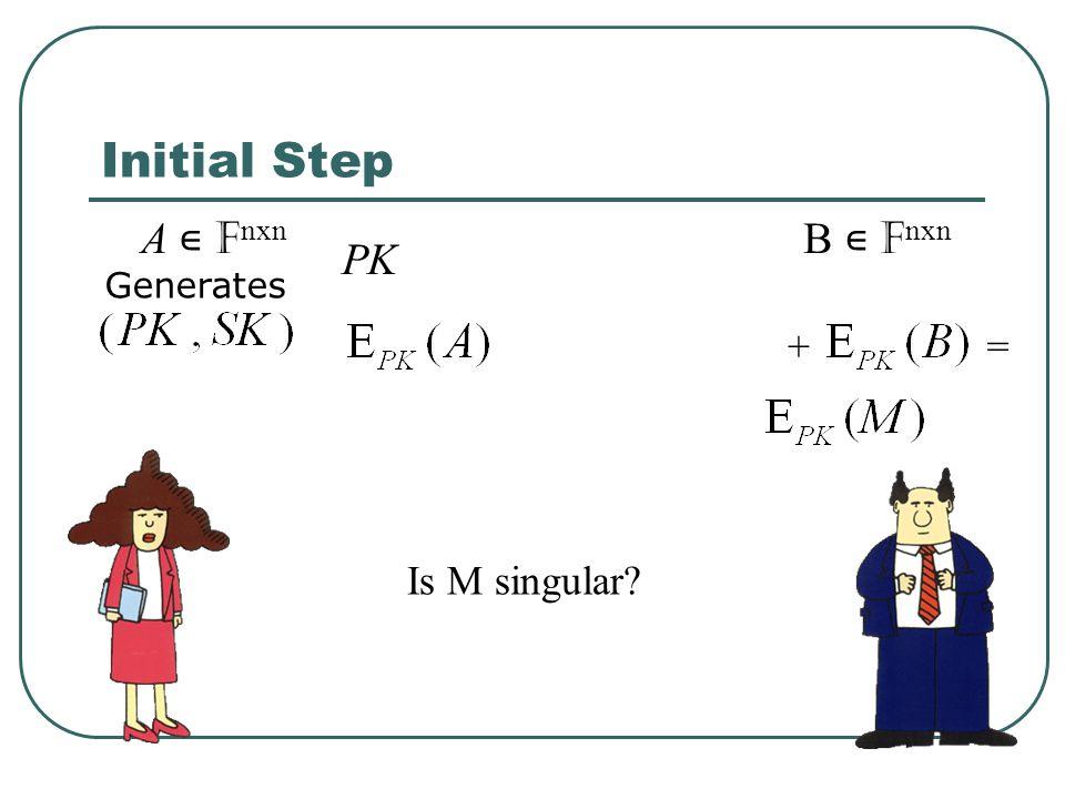 Initial Step A ∊ Fnxn B ∊ Fnxn PK Is M singular + = Generates