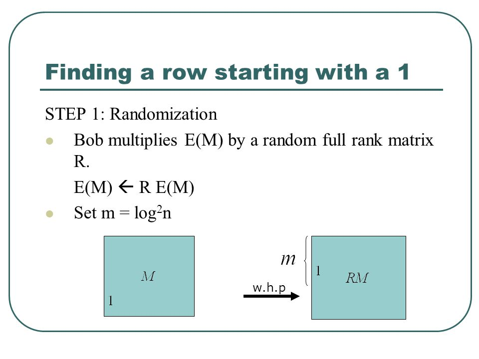 Finding a row starting with a 1