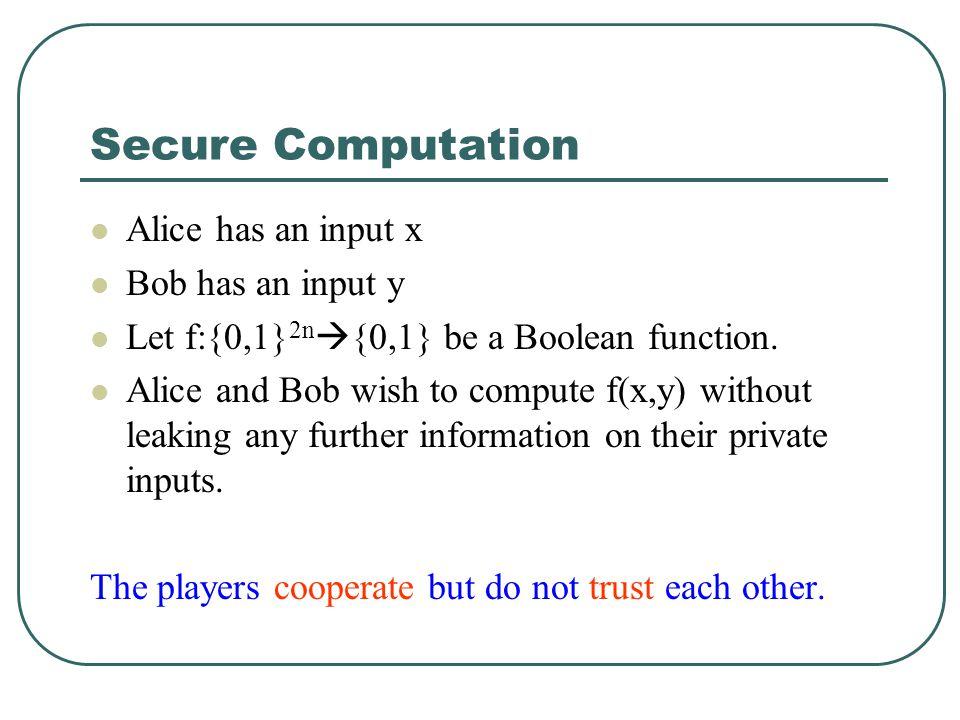 Secure Computation Alice has an input x Bob has an input y