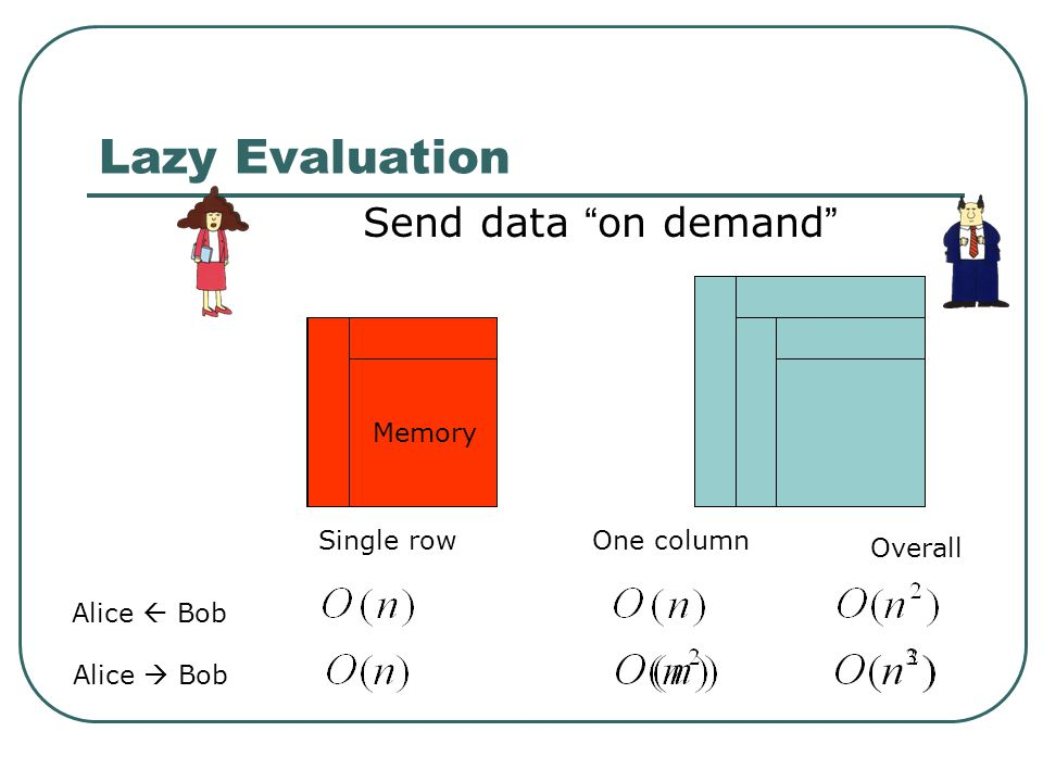 Lazy Evaluation Send data on demand Memory Single row One column