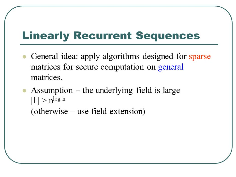 Linearly Recurrent Sequences