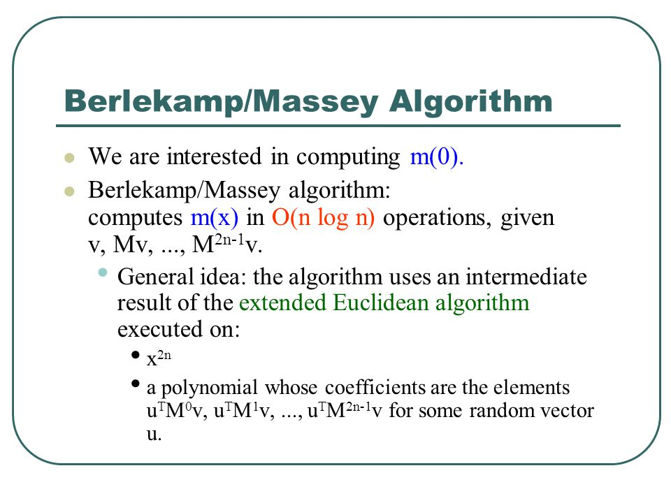 Berlekamp/Massey Algorithm