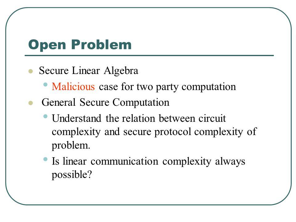 Open Problem Secure Linear Algebra