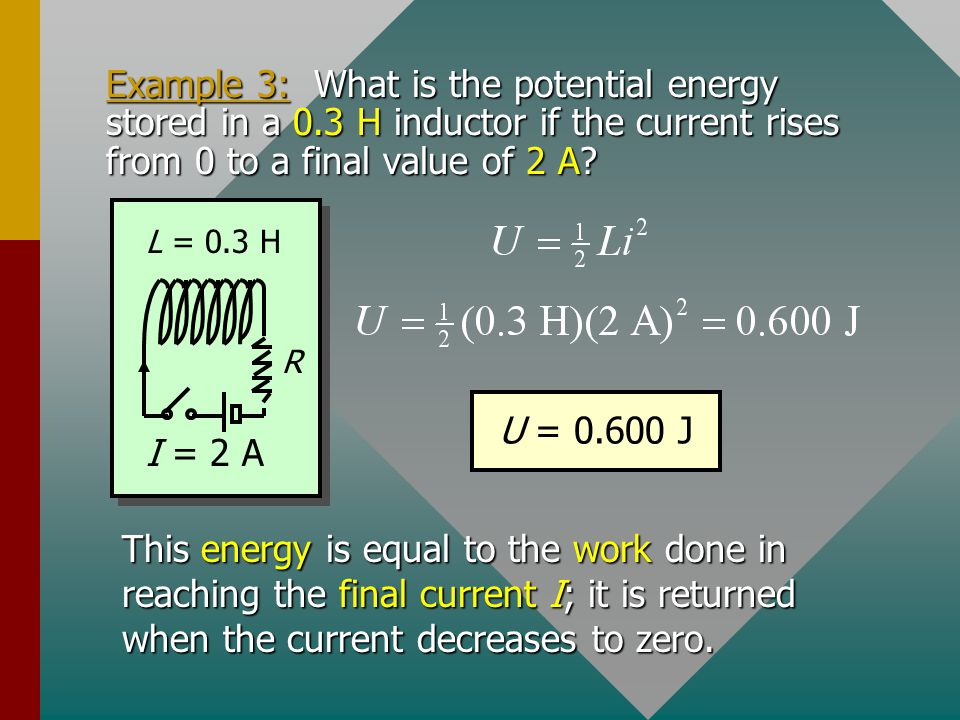 Example 3: What is the potential energy stored in a 0