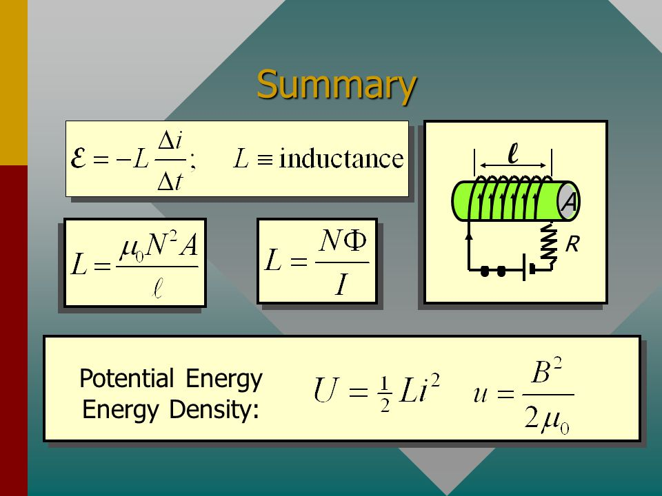 Potential Energy Energy Density: