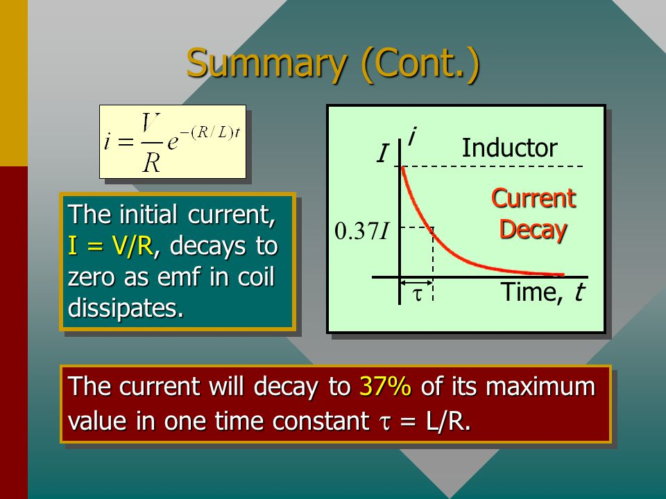 Summary (Cont.) Time, t I i Current Decay t 0.37I Inductor