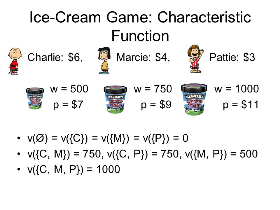 Ice-Cream Game: Characteristic Function