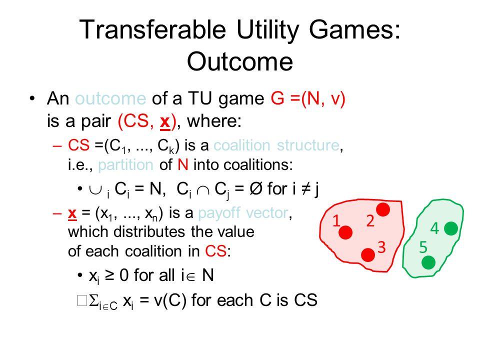 Transferable Utility Games: Outcome