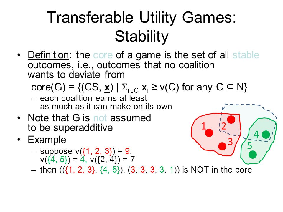 Transferable Utility Games: Stability