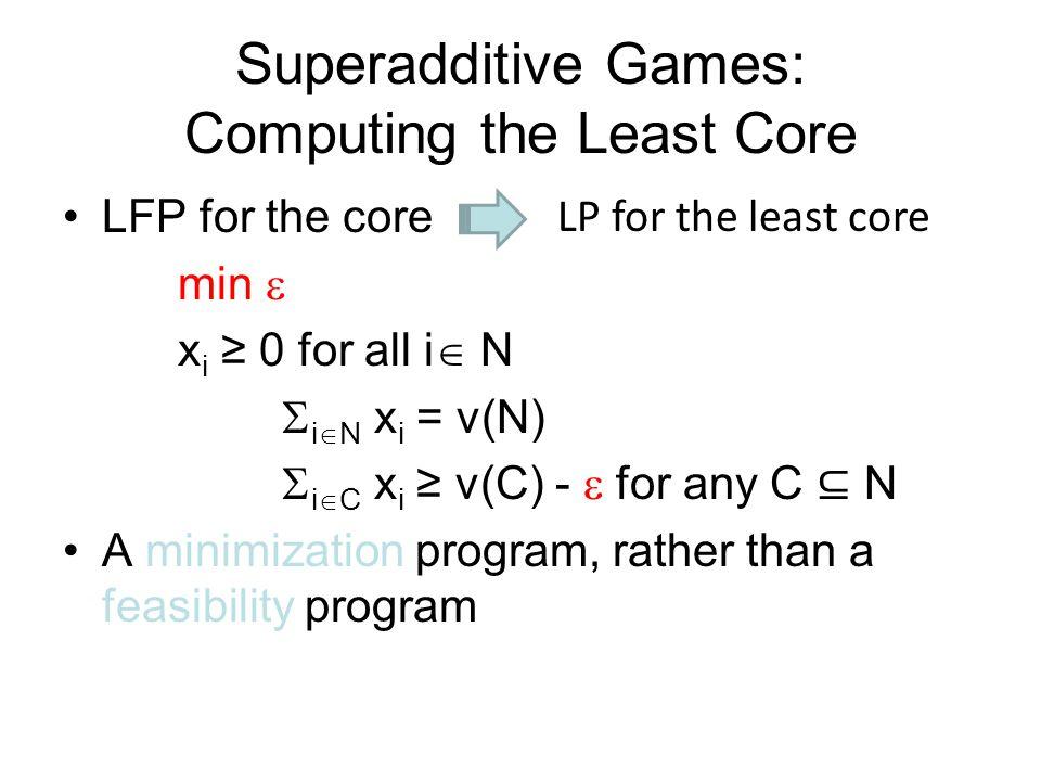 Superadditive Games: Computing the Least Core
