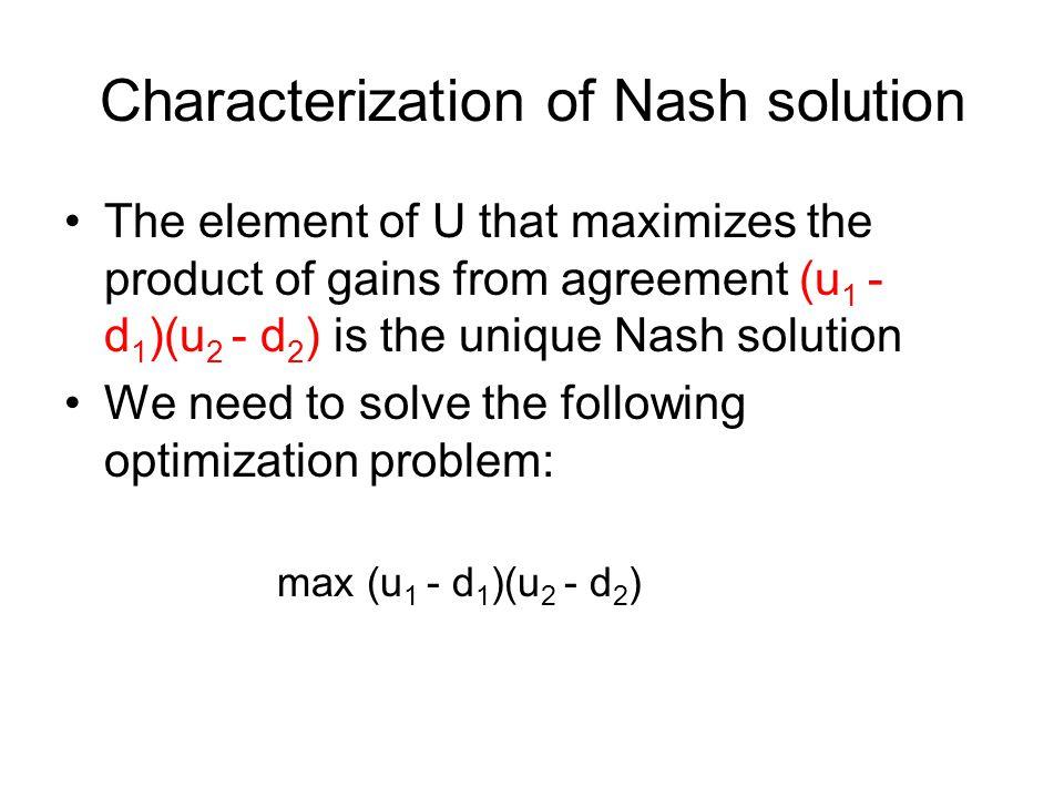 Characterization of Nash solution