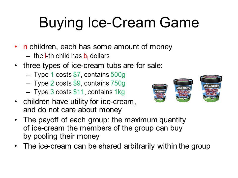 Buying Ice-Cream Game n children, each has some amount of money