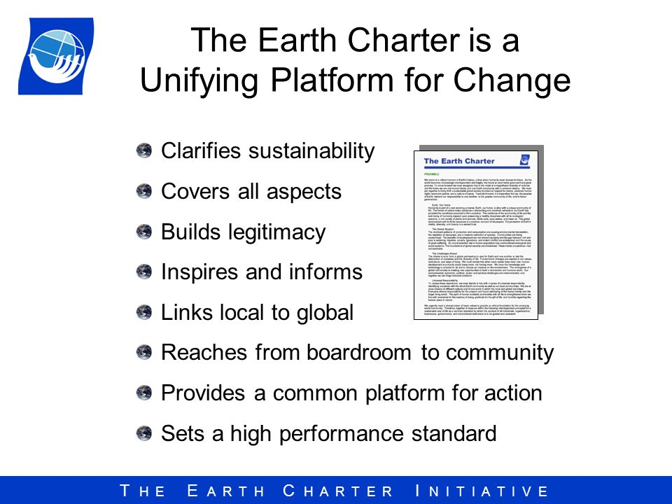The Earth Charter is a Unifying Platform for Change
