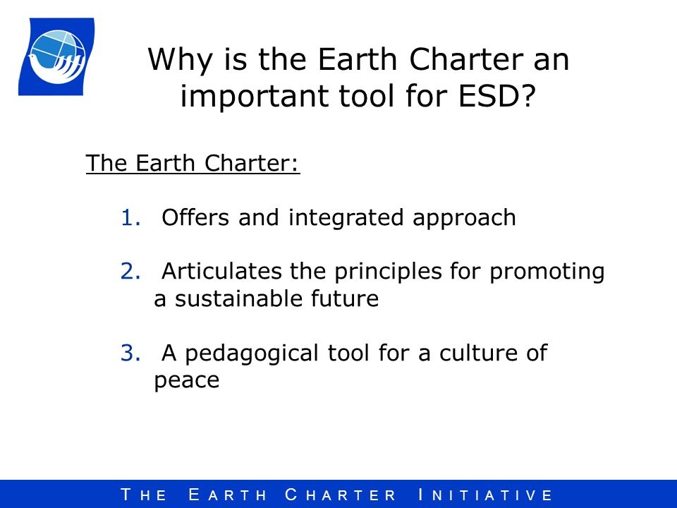 Why is the Earth Charter an important tool for ESD