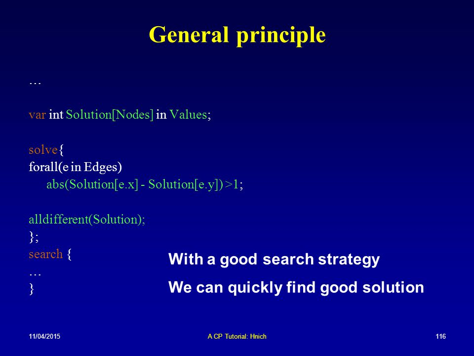 General principle With a good search strategy