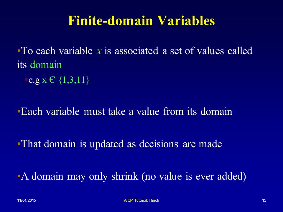 Finite-domain Variables