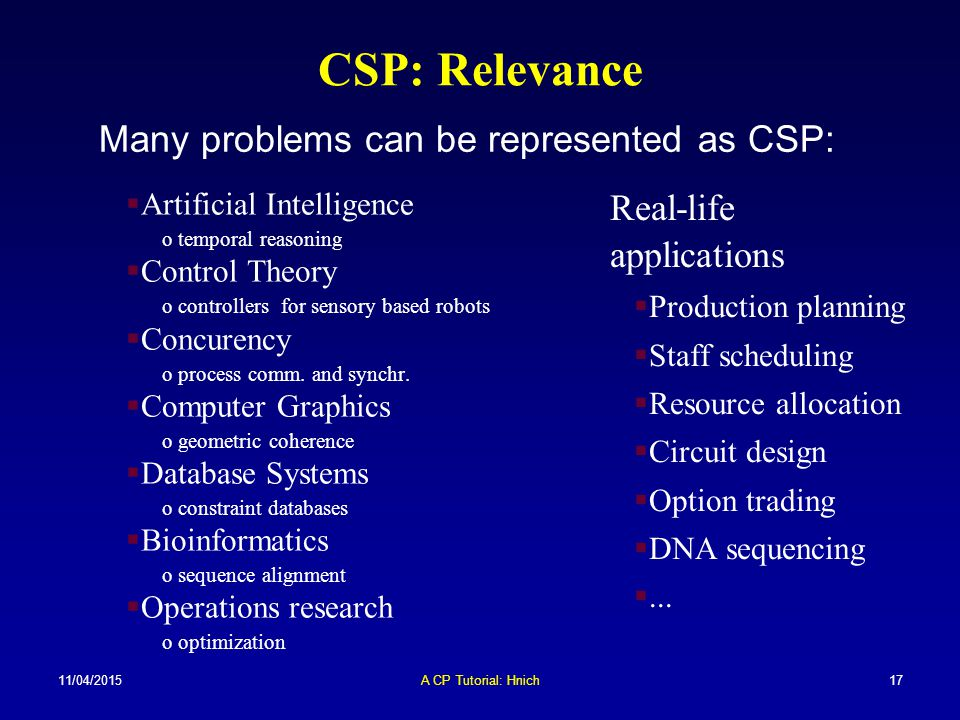 CSP: Relevance Many problems can be represented as CSP: