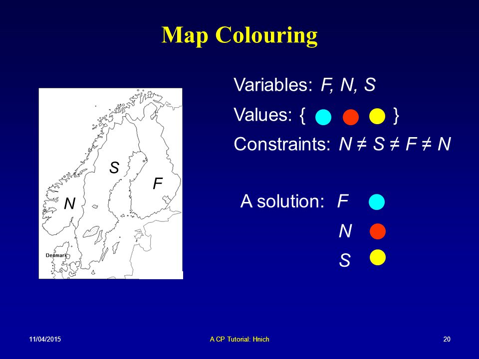 Map Colouring Variables: F, N, S Values: { }