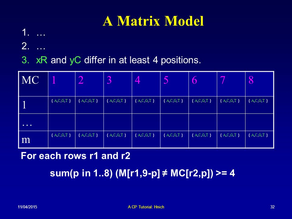 A Matrix Model … xR and yC differ in at least 4 positions. MC. 1. 2. 3. 4. 5. 6. 7. 8. { A,C,G,T }