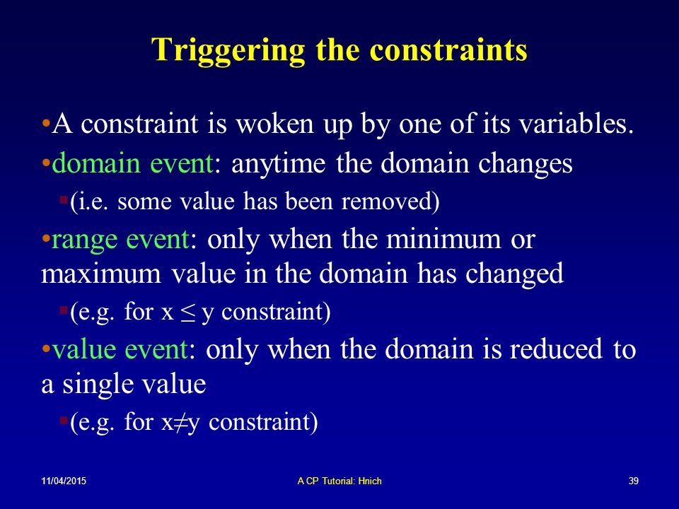 Triggering the constraints