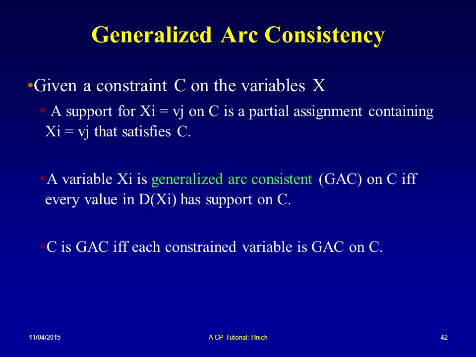 Generalized Arc Consistency