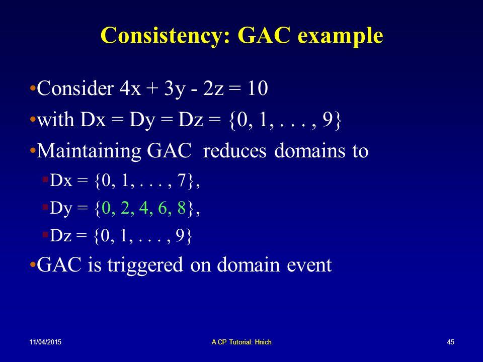 Consistency: GAC example