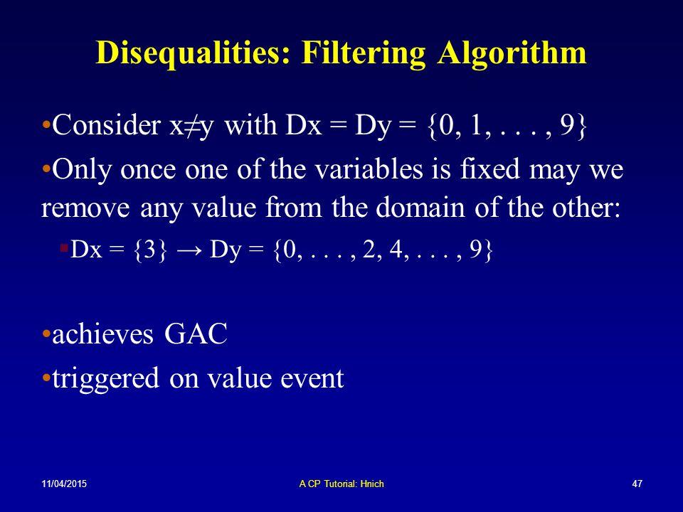 Disequalities: Filtering Algorithm