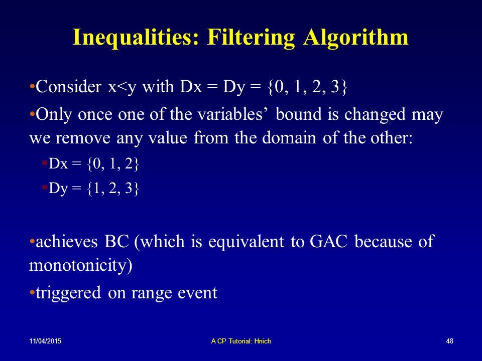 Inequalities: Filtering Algorithm